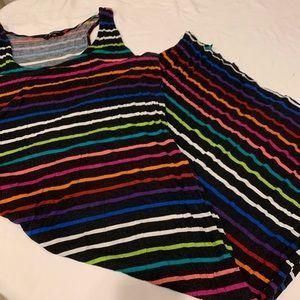 Just Love 3x Black Maxi Rainbow Stripes